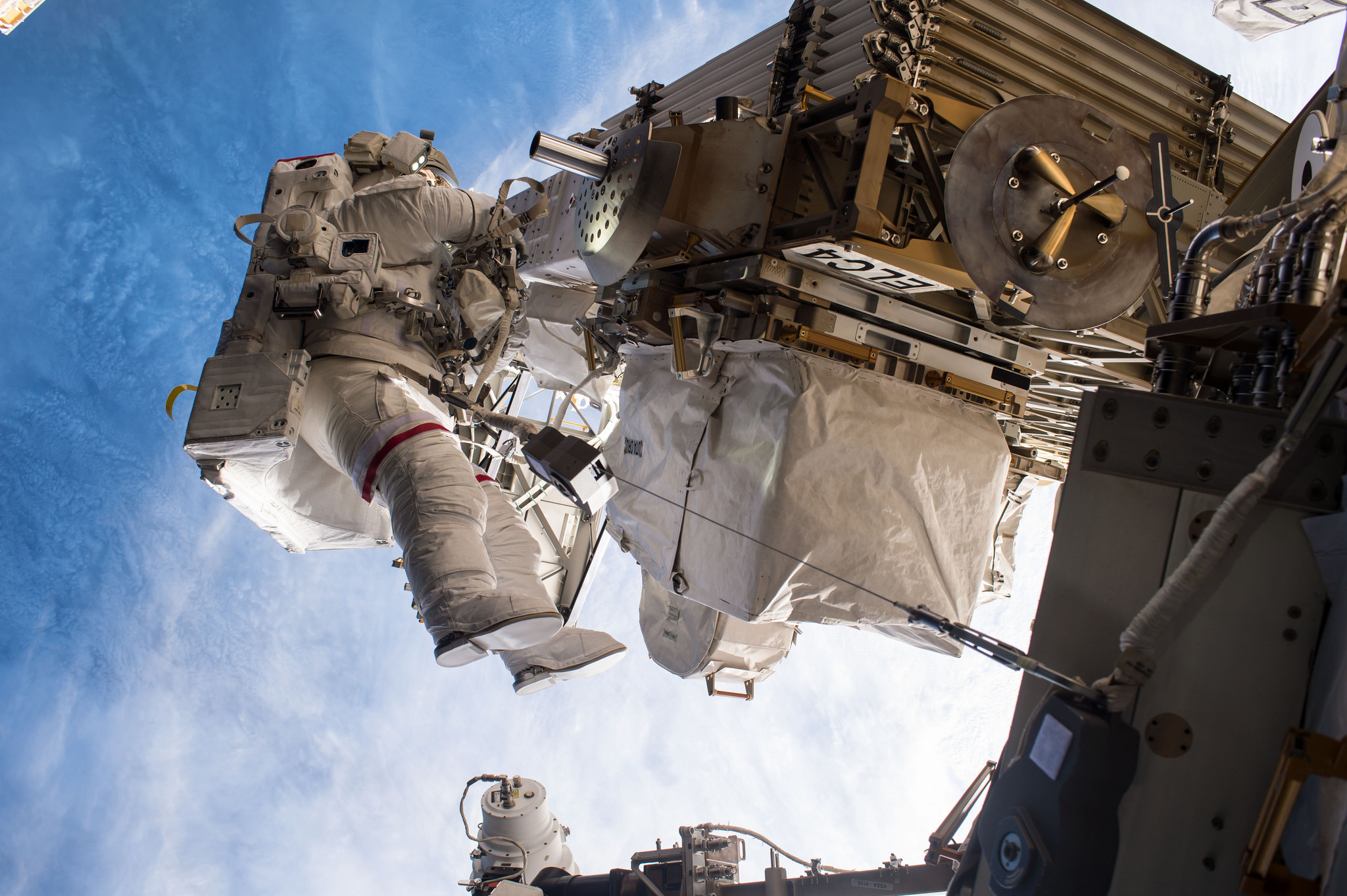 Whitson works outside the space station during U.S. EVA-42. Credit: NASA