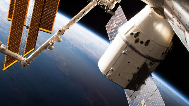 The CRS-15 Dragon capsule spent about a month attached to the Earth-facing port of the Harmony module. Credit: NASA