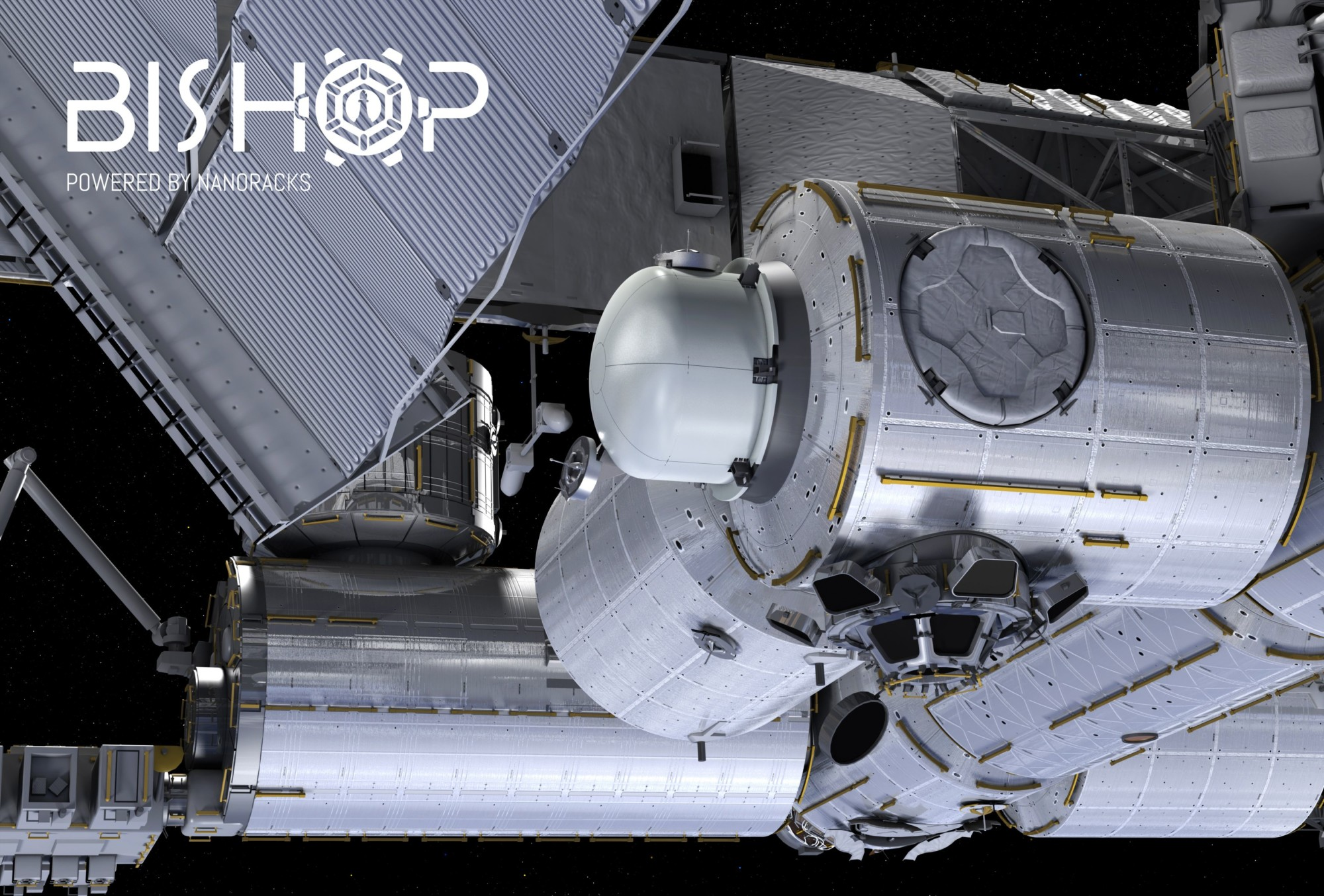 An artist's rendering of the Bishop airlock attached to the Tranquility module. Credit: NanoRacks