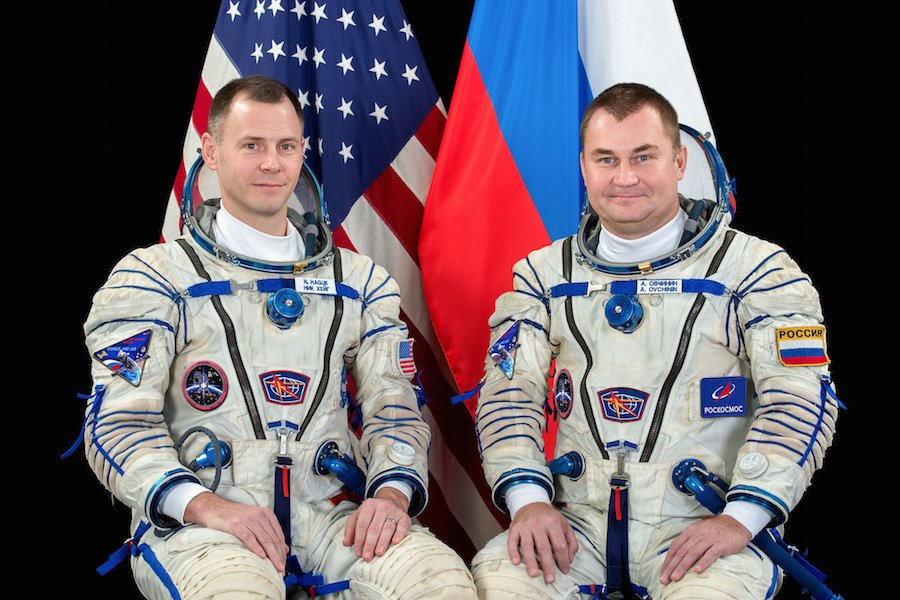 NASA astronaut Nick Hague, left, and Russian cosmonaut Aleksey Ovchinin are reportedly in good condition on the ground after an emergency landing following a booster failure during their planned mission to the International Space Station. Credit: NASA