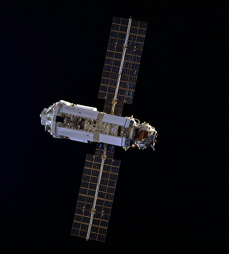 Zarya, the first component of the International Space Station, is seen by the approaching STS-88 space shuttle mission in 1998. Credit: NASA