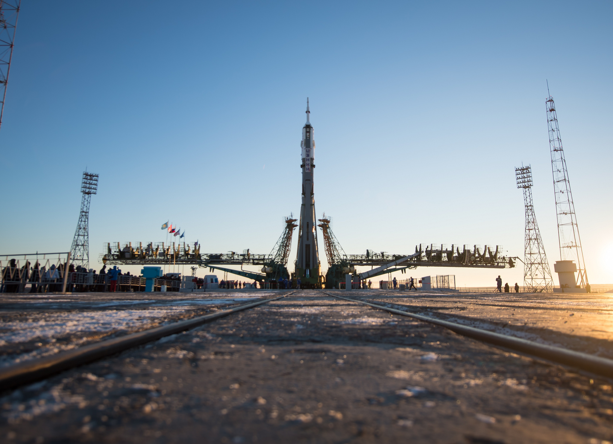 The Soyuz-FG rocket that launched Soyuz MS-11 stands at the launch pad in Baikonur Cosomdrome several days before liftoff. This was the first human launch atop a Soyuz-FG rocket following the Oct. 11, 2018, in-flight abort of Soyuz MS-10. Credit: NASA/Aubrey Gemignani