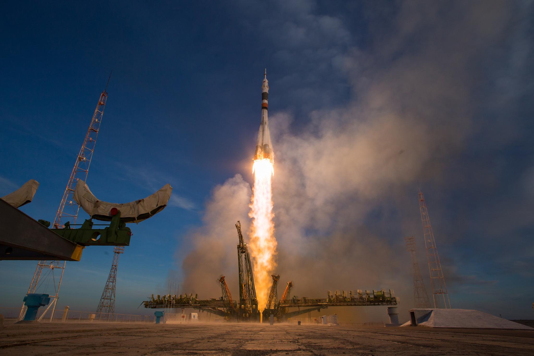 A Soyuz-FG rocket launches the Soyuz MS-11 spacecraft into orbit with three fresh crew members for the International Space Station. Credit: NASA/Aubrey Gemignani