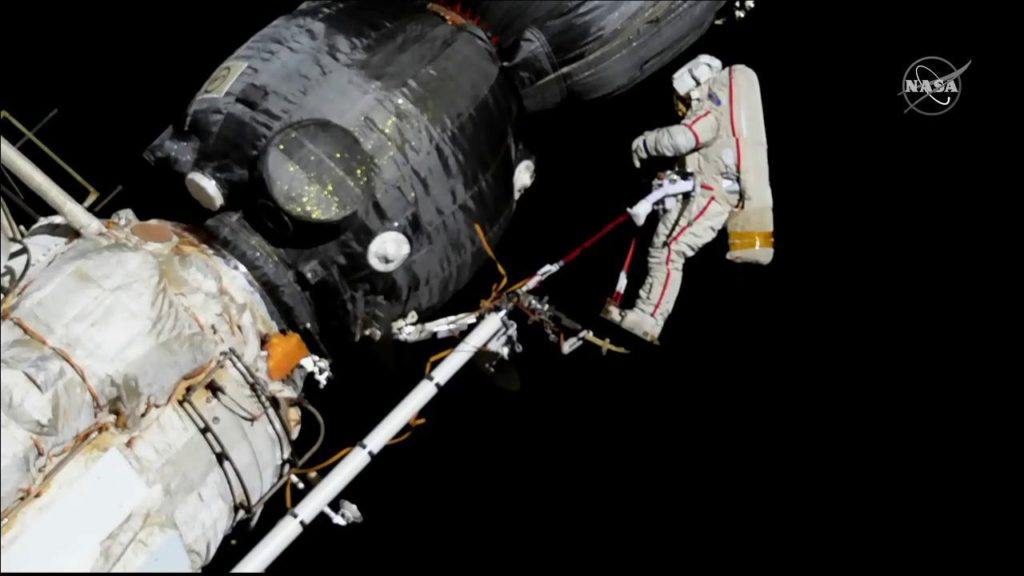 During a spacewalk, Russian cosmonaut Oleg Kononenko gets ready to inspect the Orbital Module of the Soyuz MS-09 spacecraft, which was repaired internally in August after a hole was discovered in its hull. Credit: NASA