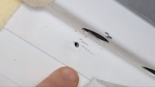 The two-millimeter-wide hole was found on the orbital module of the Soyuz MS-09 spacecraft in August 2018. Credit: NASA