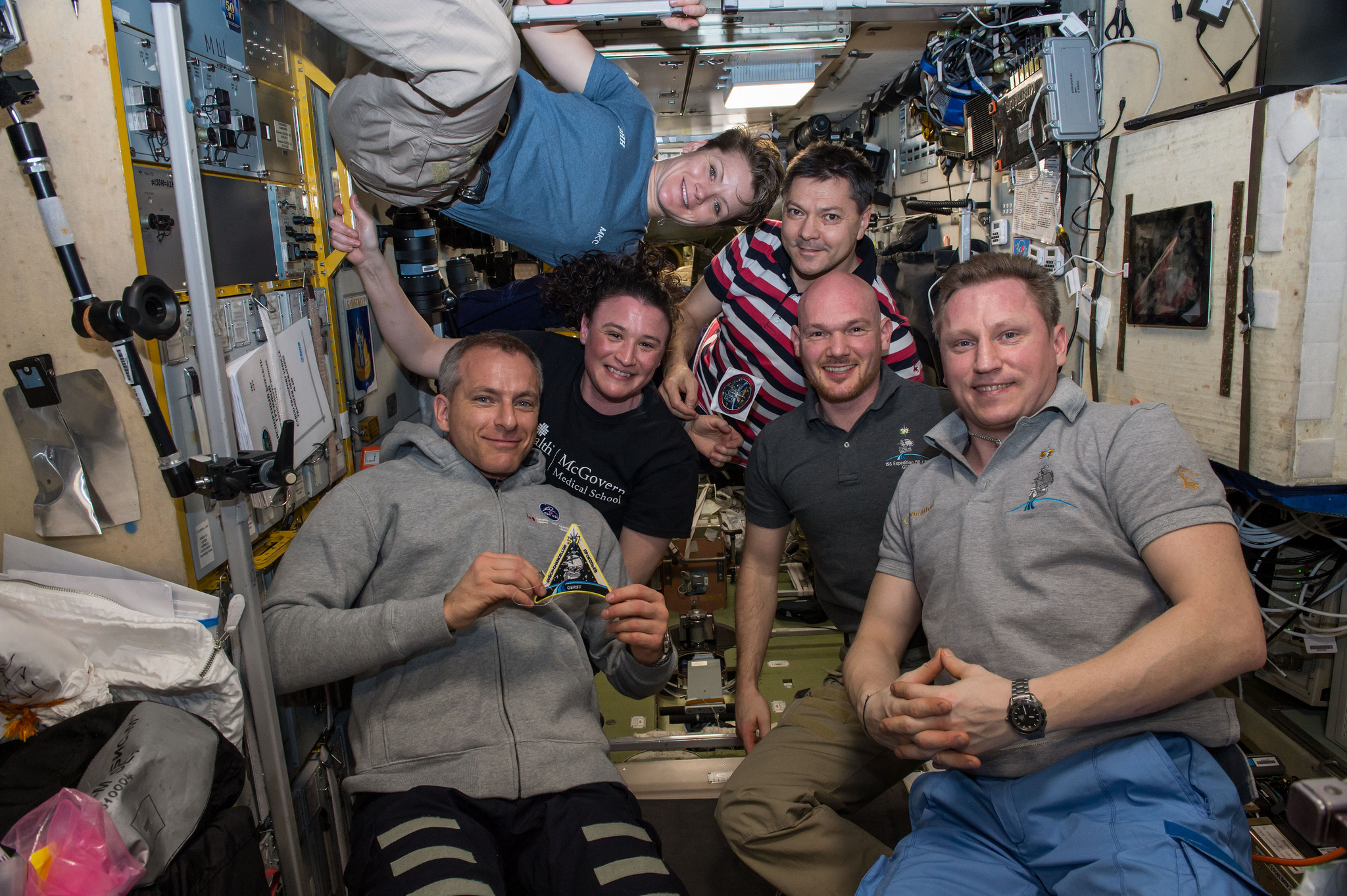 The full Expedition 57 crew after Soyuz MS-11 arrived. Bottom row, from left to right: David Saint-Jacques, Serena Aunon-Chancellor, Alexander Gerst and Sergey Prokopyev. Top row from left to right: Anne McClain and Oleg Kononenko. Credit: NASA