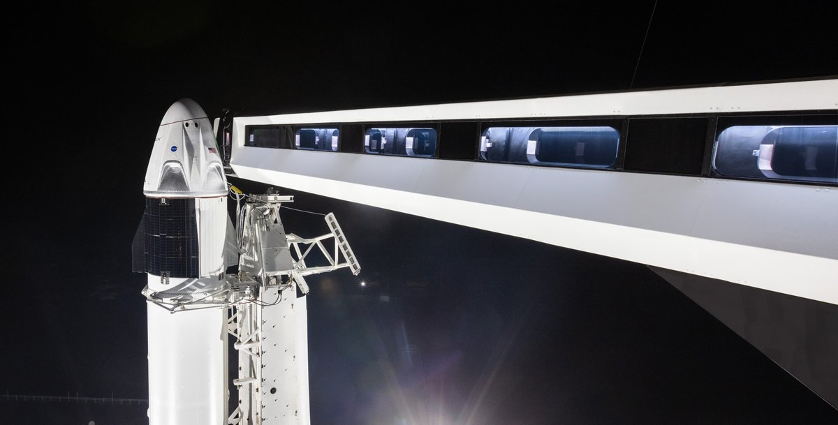 For the first time since 2011, a crew-rated spacecraft is standing on Launch Complex 39A. While it is just for fit checks, SpaceX's Crew Dragon is aiming for an unpiloted test launch in late-January at the earliest. Photo Credit: SpaceX
