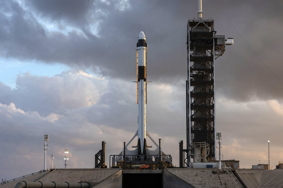 SpaceX's Crew Dragon atop a Falcon 9 rocket stands vertical at Launch Complex 39A. Photo Credit: SpaceX