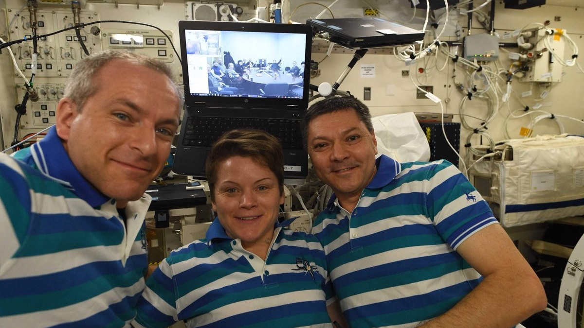 Canadian Space Agency astronaut David Saint-Jacques, left, NASA astronaut Anne McClain, center, and Russian cosmonaut Oleg Kononenko pose for a group photo on Jan. 7, 2019, during their Orthodox Christmas celebration. Credit: CSA/David Saint-Jacques