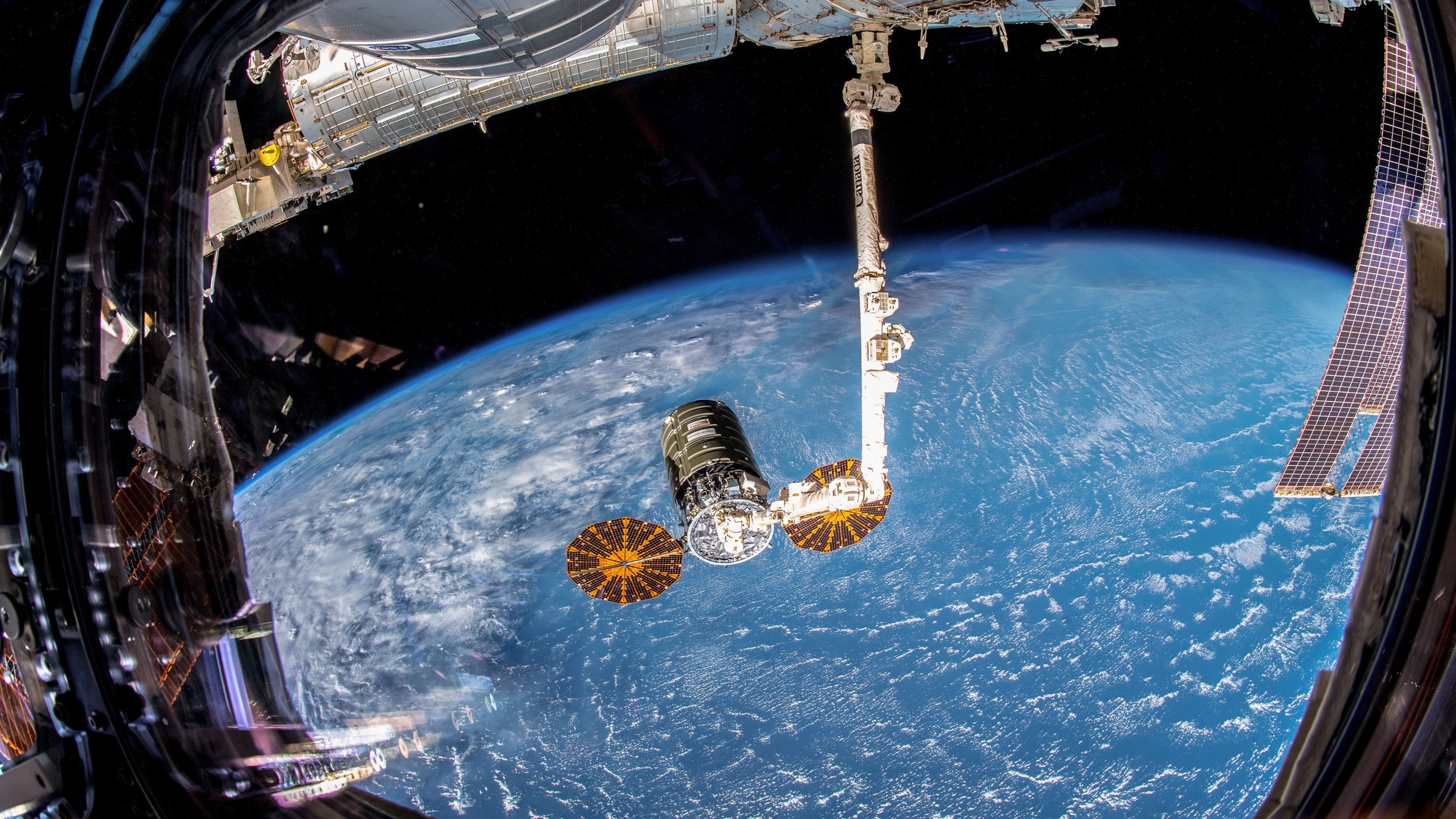 Cygnus as seen when it was captured by the Expedition 57 crew using Canadarm2. Credit: NASA