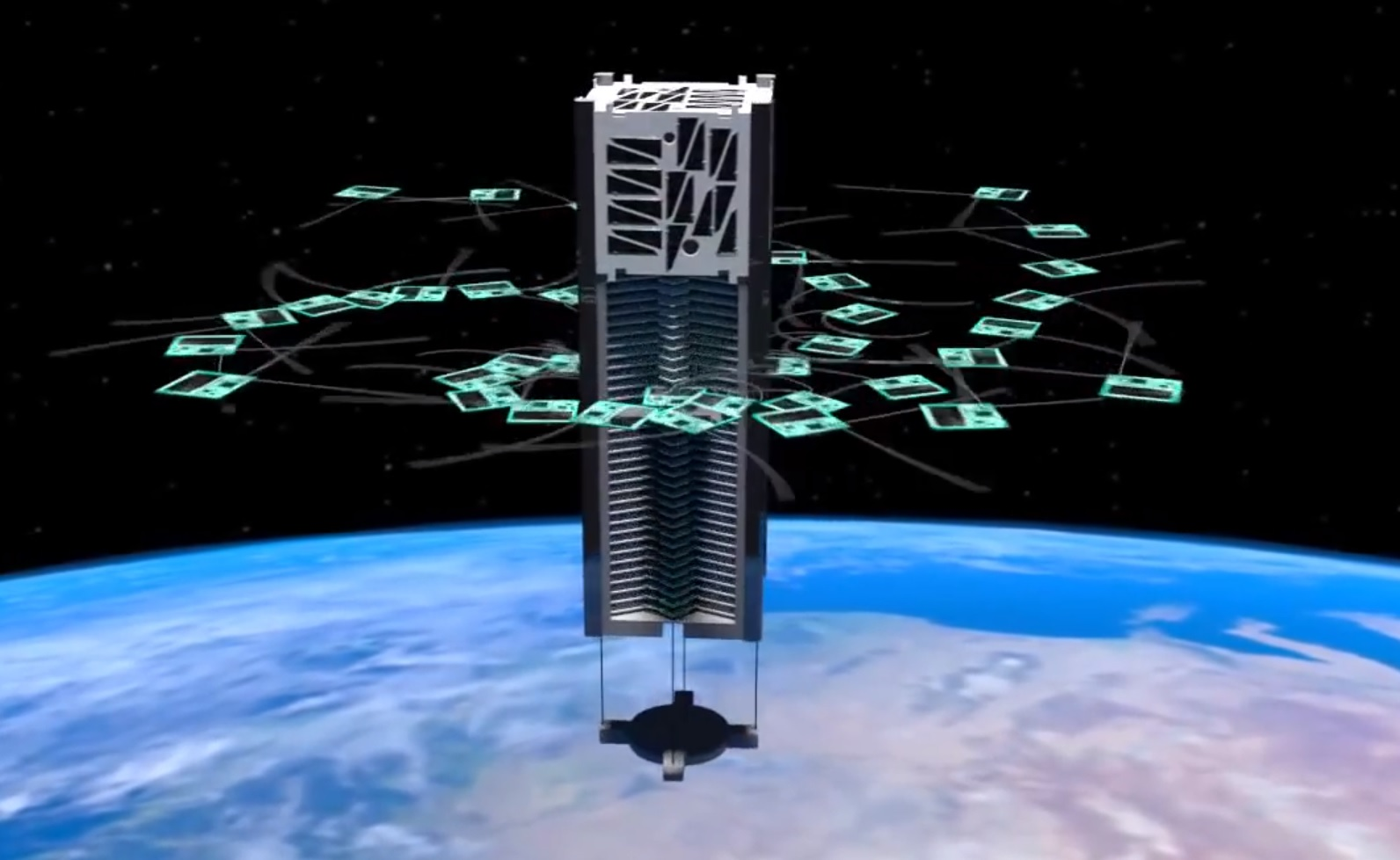An artist's rendering of KickSat deploying its femtosatellites. Credit: KickSat