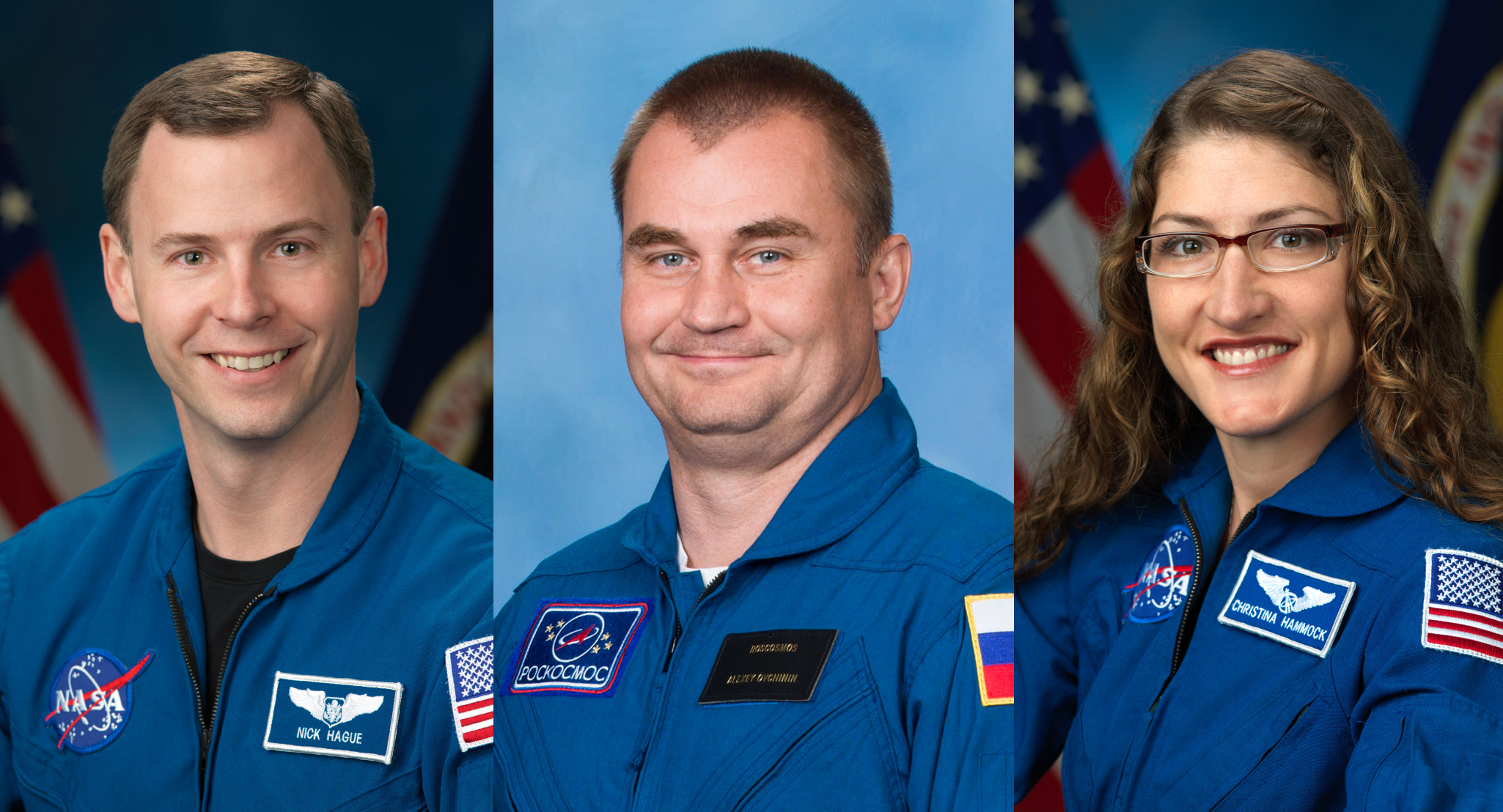 The Soyuz MS-12 crew. From left to right: NASA astronaut Nick Hague, Russian cosmonaut Aleksey Ovchinin and NASA astronaut Christina Koch. Credit: NASA