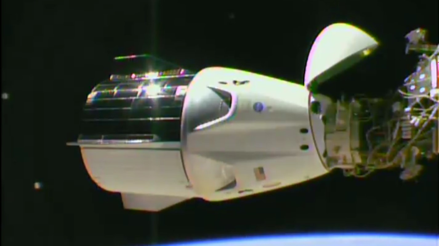 Crew Dragon Demo-1 firmly docked to the International Space Station. Credit: NASA