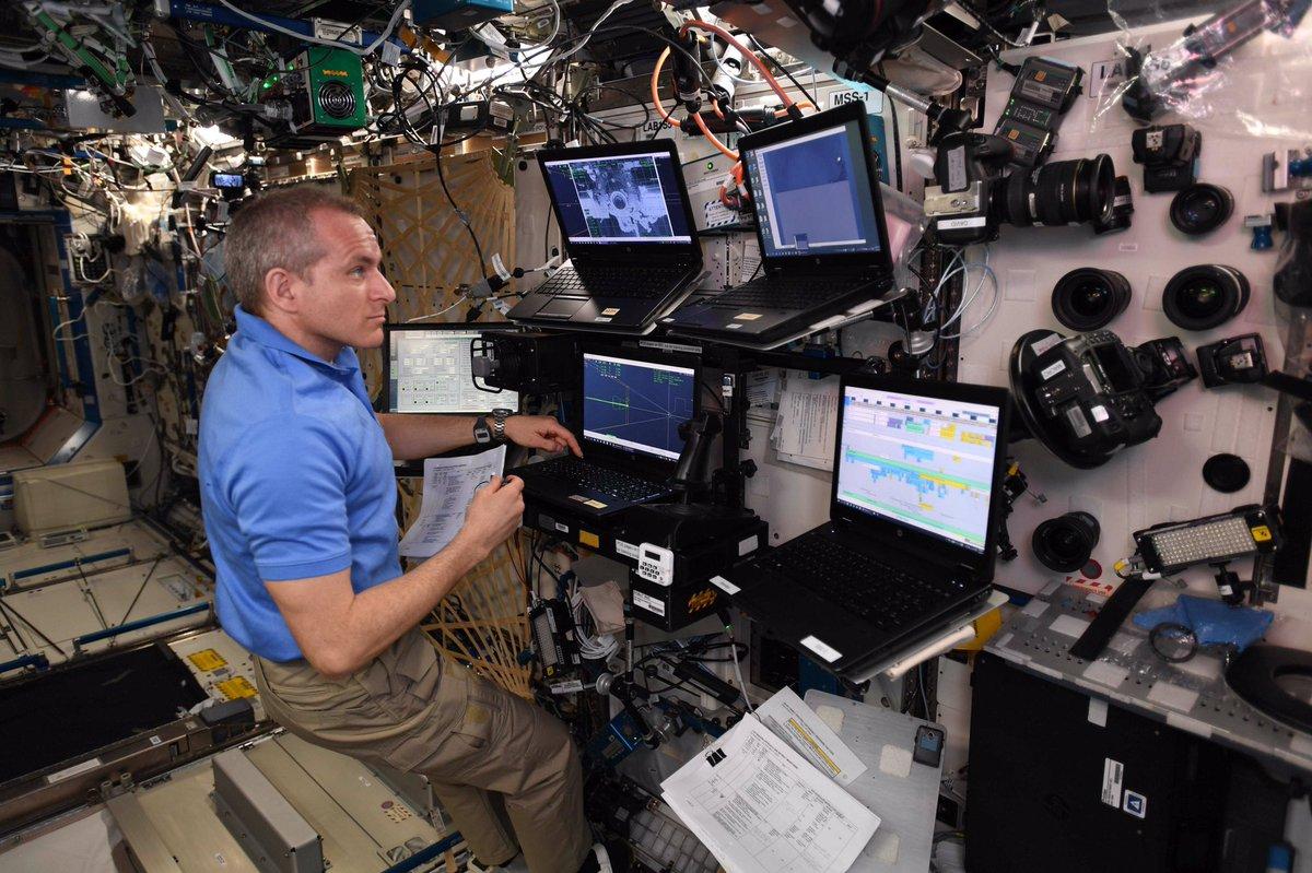David Saint-Jacques monitors Crew Dragon's approach to the ISS. Credit: NASA/ESA