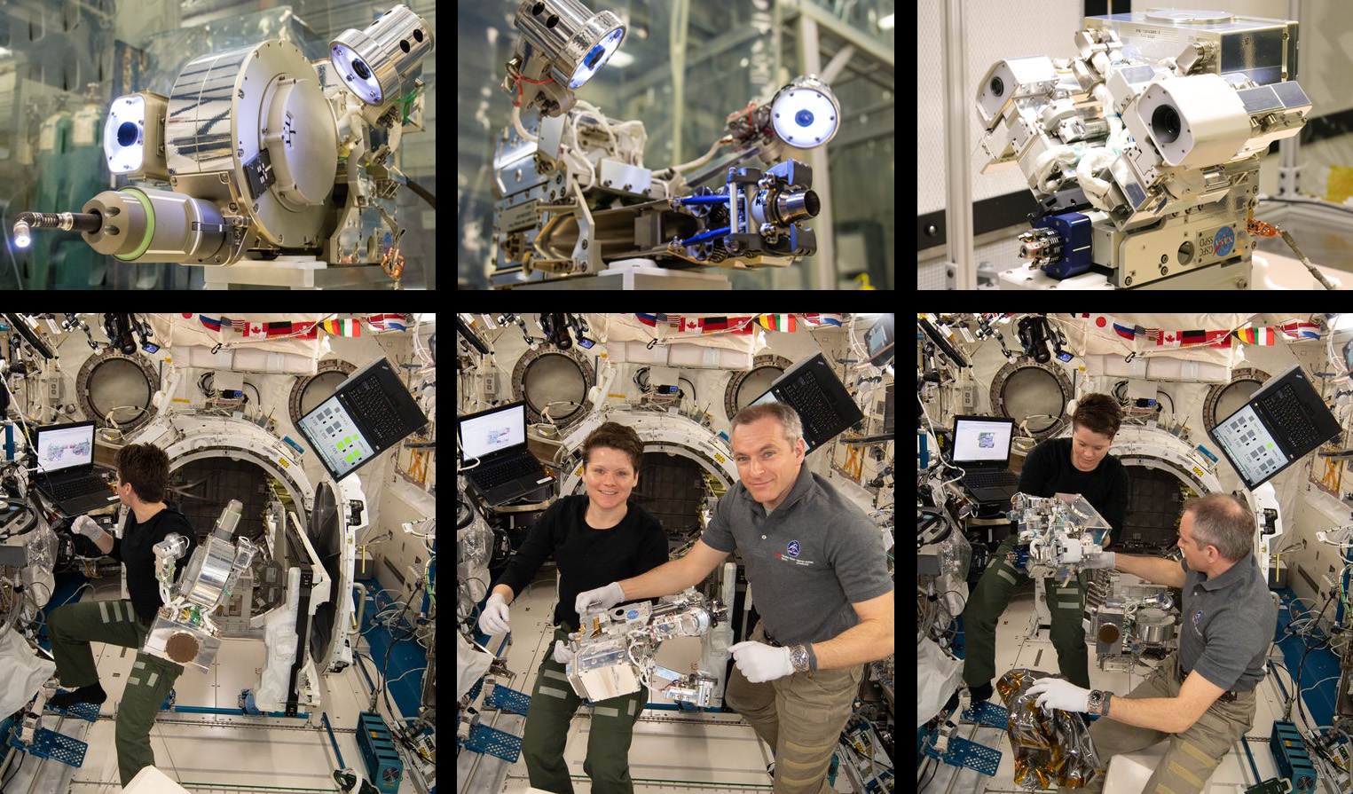 NASA astronaut Anne McClain and Canadian Space Agency astronaut David Saint-Jacques work to assemble the tools for the Robotic Refueling Mission 3 experiment. Credit: NASA