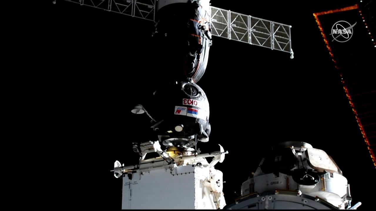 Soyuz MS-12 docks with the Rassvet module. Credit: NASA
