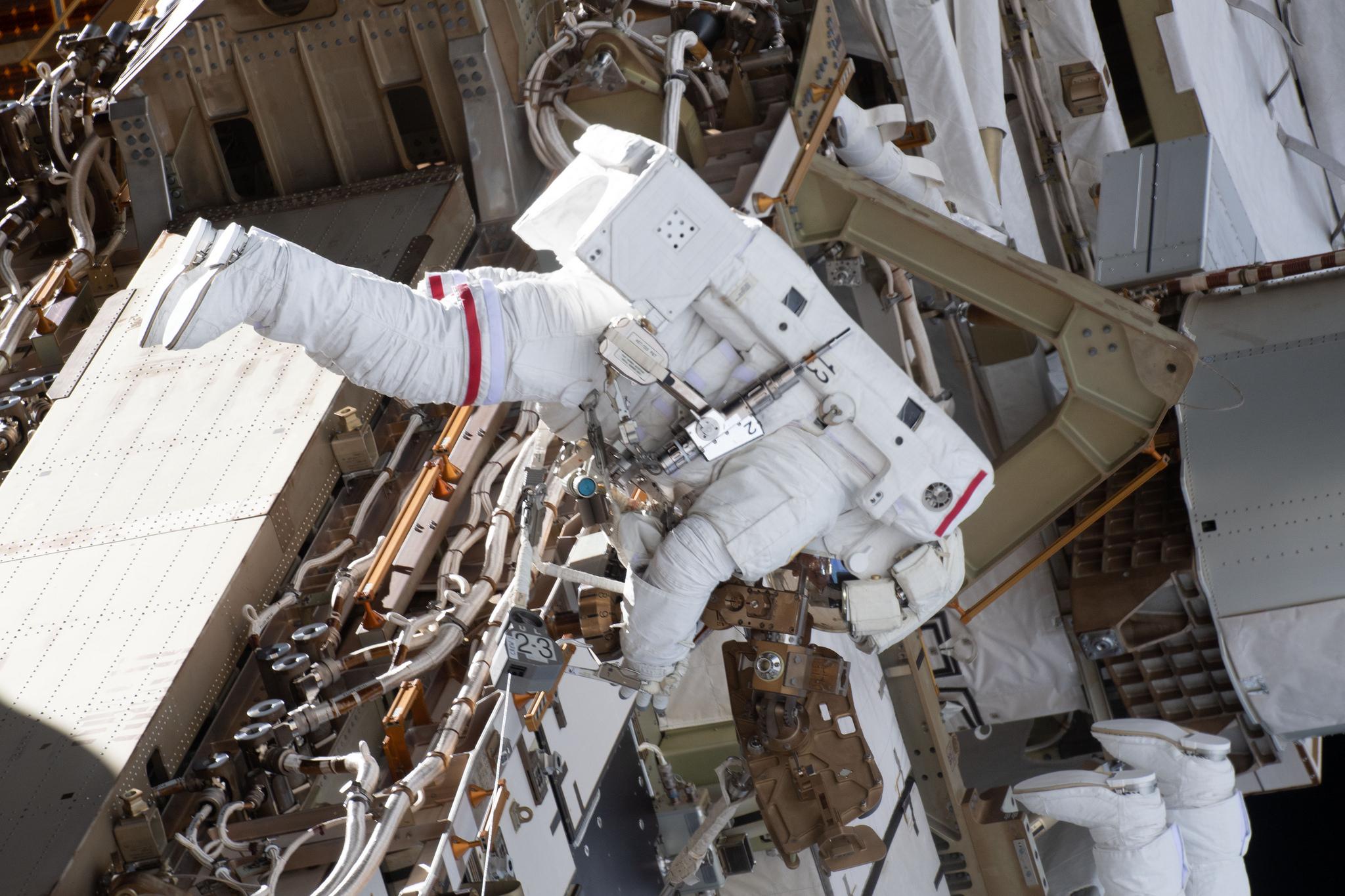Anne McClain during her first spacewalk, U.S. EVA-52, on March 22, 2019. Credit: NASA
