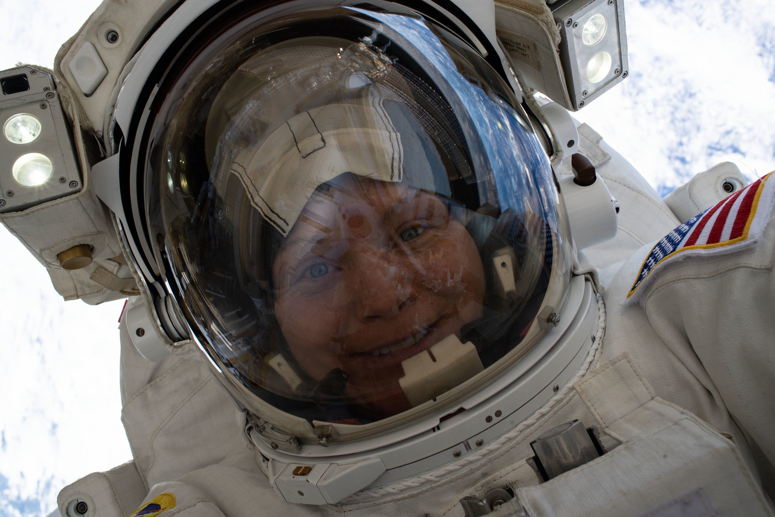 Astronaut Anne McClain during her first spacewalk on March 22, 2019. Credit: NASA