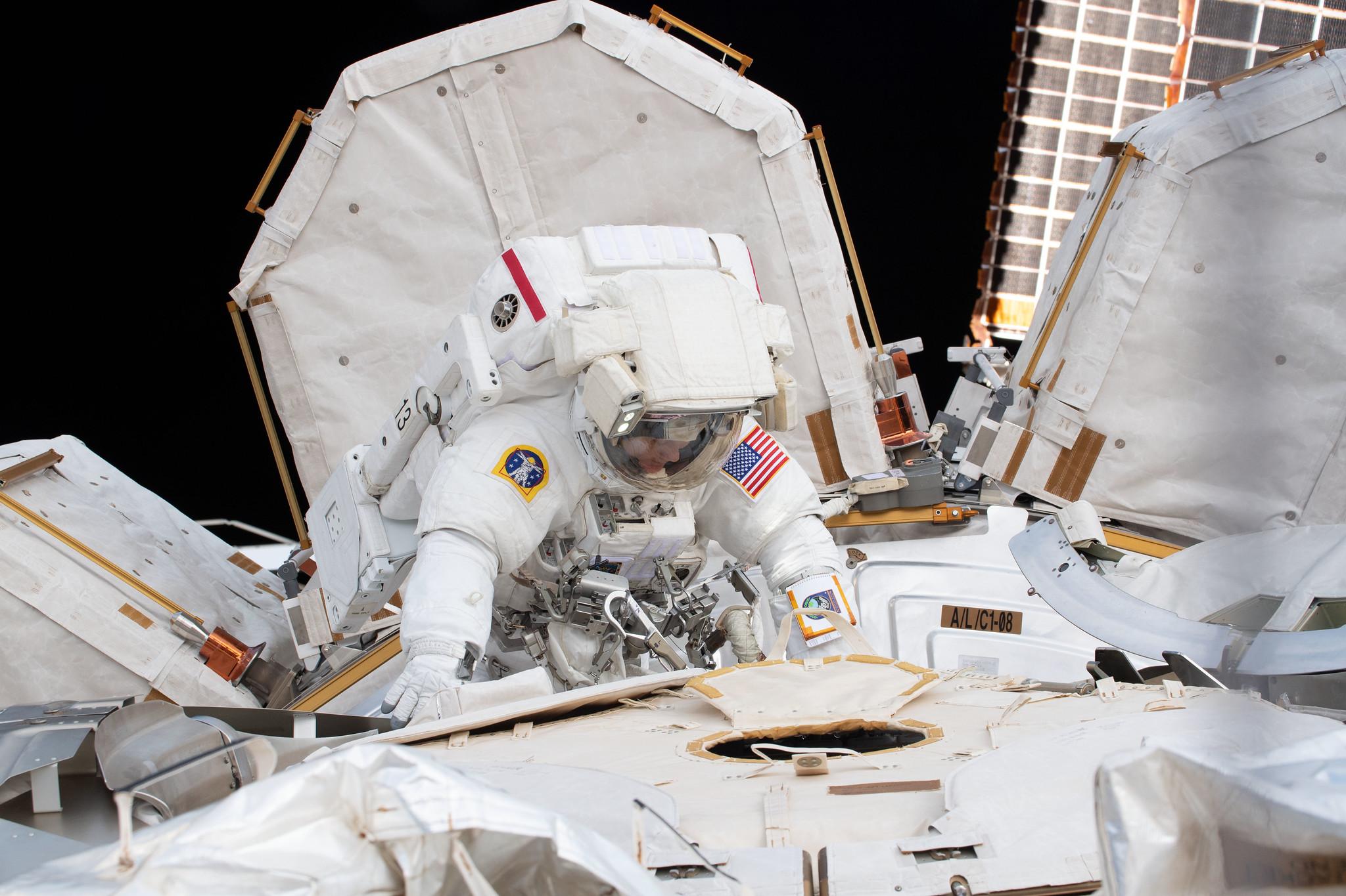 NASA astronaut Anne McClain as seen during her first spacewalk on March 22, 2019. Credit: NASA