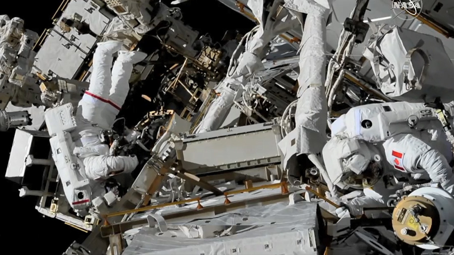 Astronauts Anne McClain and David Saint-Jacques of NASA and the Canadian Space Agency work during U.S. EVA-54 on April 8, the third spacewalk of 2019. Credit: NASA