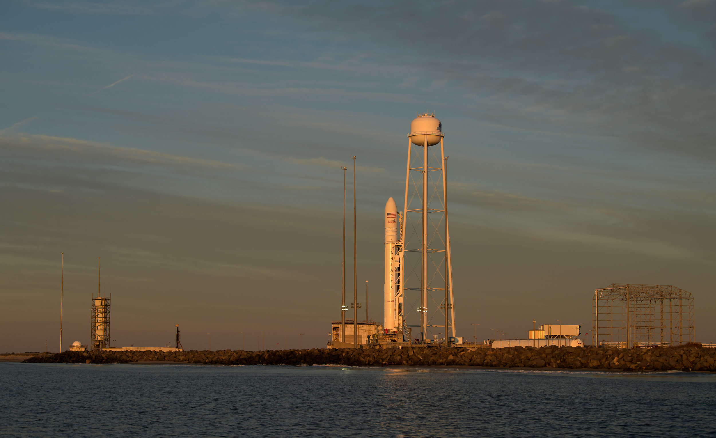An Antares 230 rocket sits at the launch pad in preparation for liftoff on April 17, 2019. Credit: NASA/Bill Ingalls