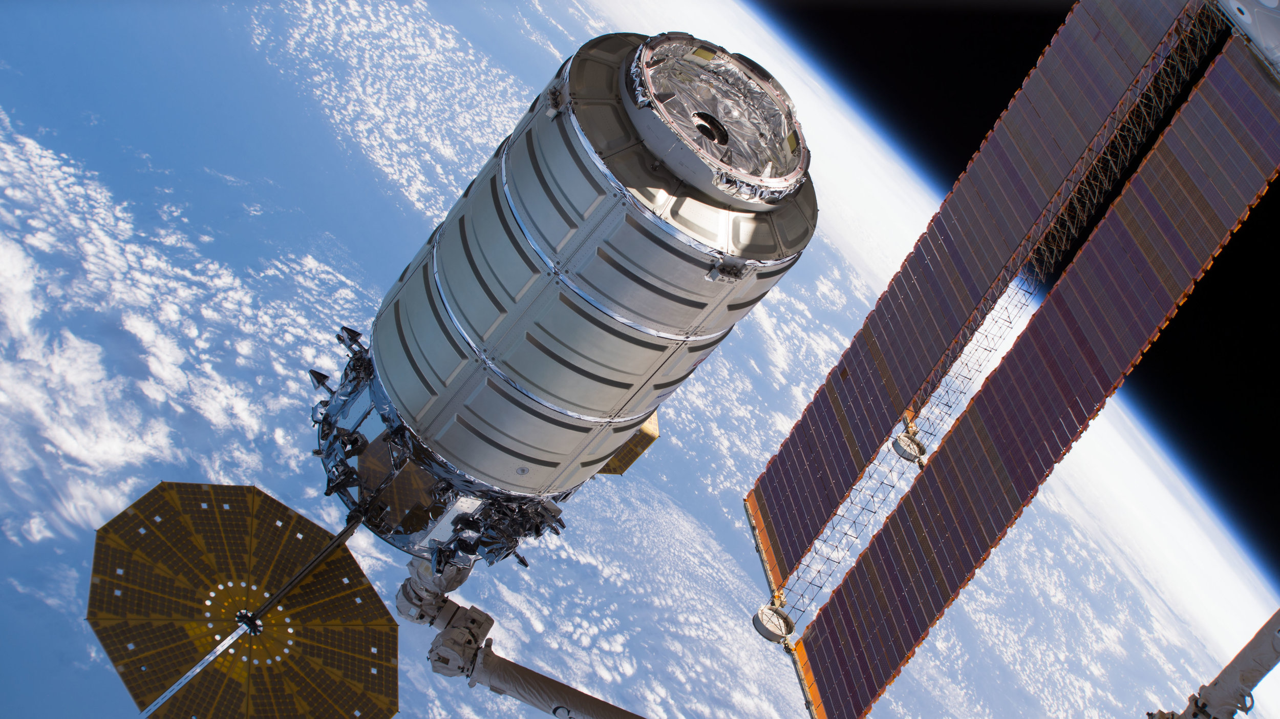 A file photo of a previous Cygnus spacecraft being captured at the International Space Station. The NG-11 Cygnus arrived at the outpost on April 19, 2019. Credit: NASA