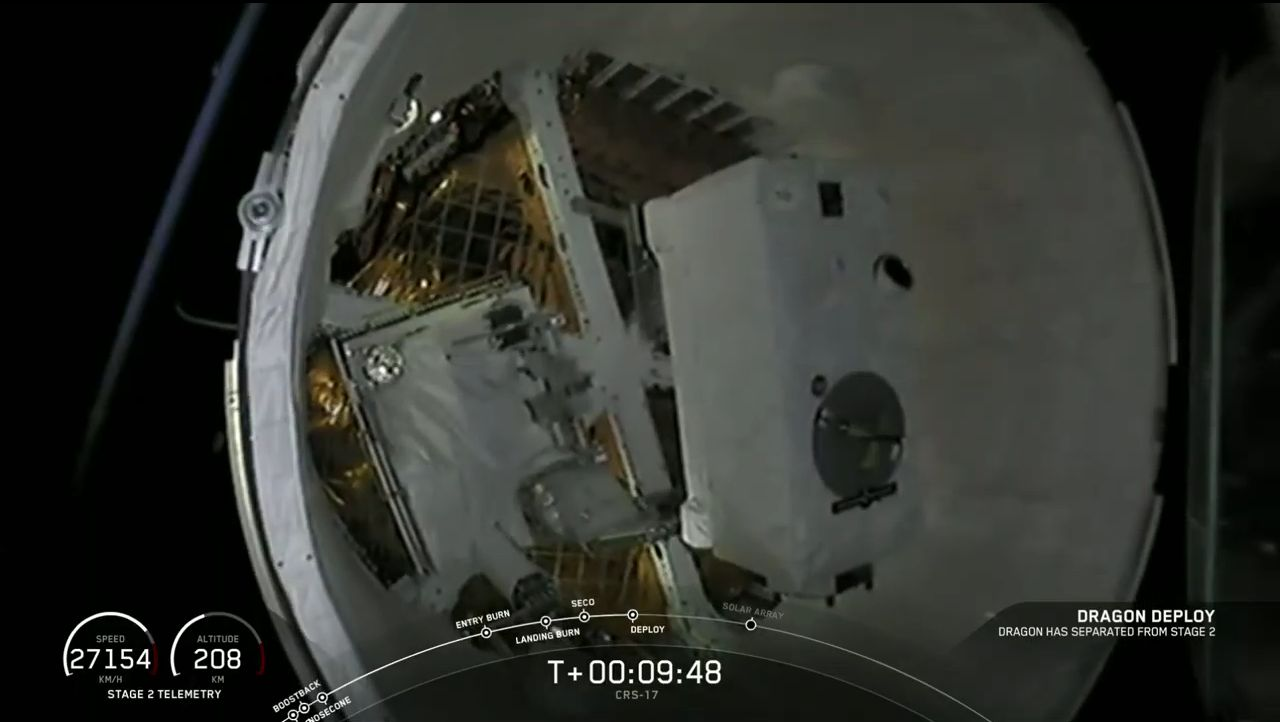 A view inside the trunk of the CRS-17 Dragon. There you can see the two external experiments being transported to the space station: The Orbiting Carbon Observatory-3, right, and Space Test Program-Houston 6. Credit: SpaceX