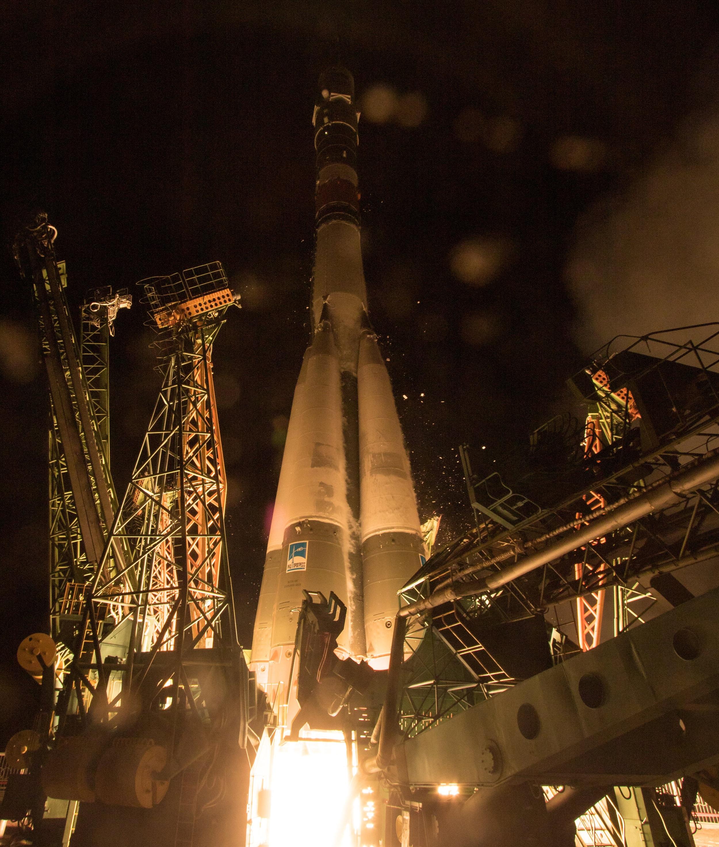 Soyuz MS-13 launches atop the Soyuz-FG rocket for its trek into orbit. NASA/Joel Kowsky