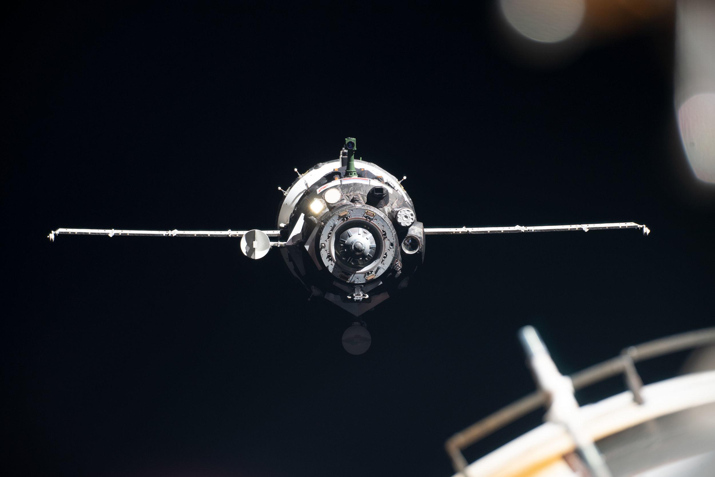 Soyuz MS-13 just before docking. Credit: NASA