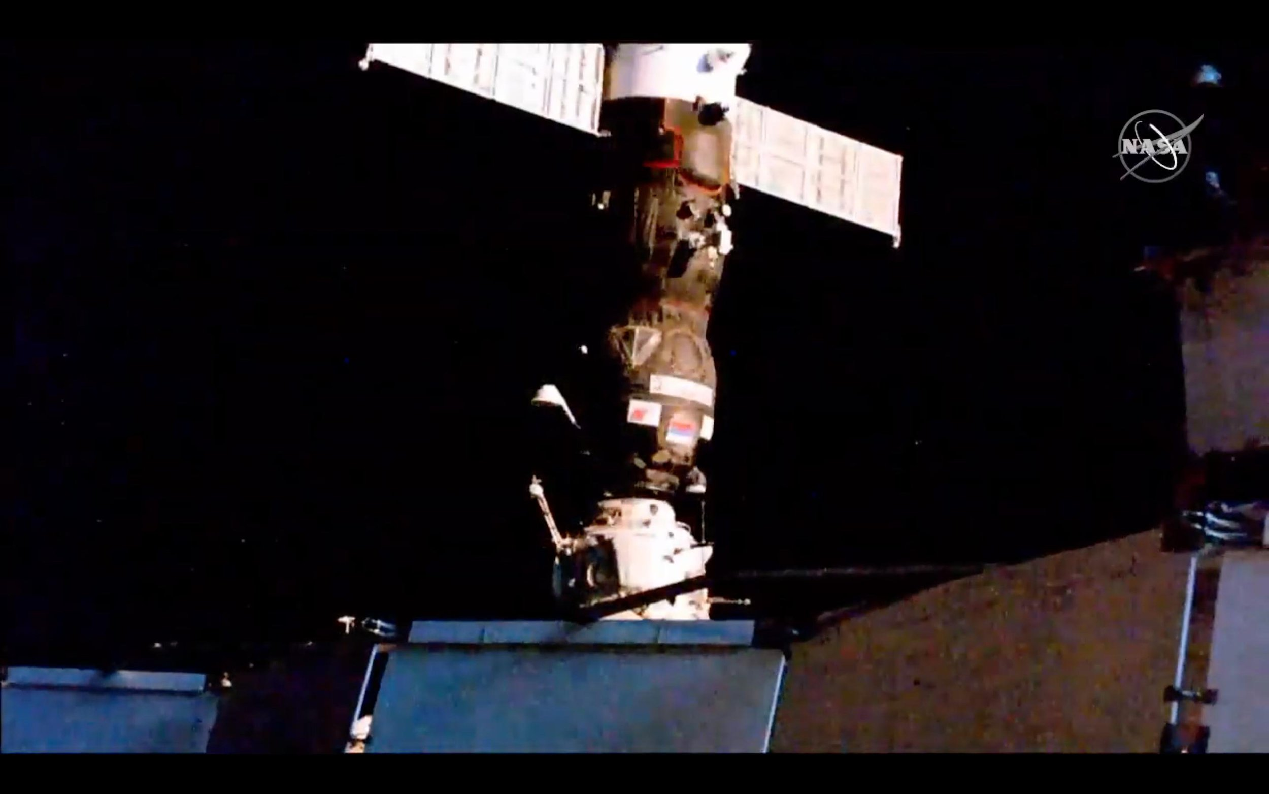 Progress MS-12 moments after making contact with the Pirs module. Credit: NASA