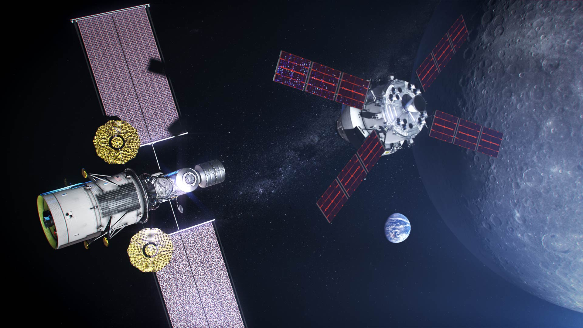 """A concept for NASA's """"phase one"""" Lunar Gateway, which includes a power and propulsion element and a minimal habitation module. A lunar lander and resupply module are attached to the cislunar outpost in this rendering with an Orion spacecraft inbound for docking. Credit: NASA"""