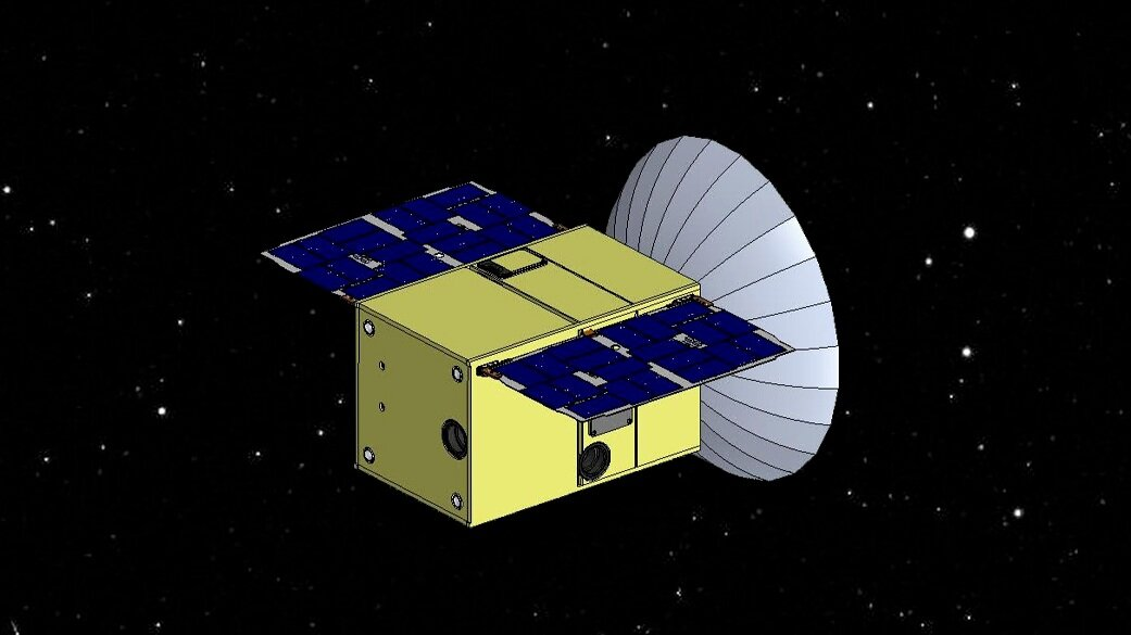 A rendering of the CAPSTONE CubeSat. Credit: Tyvak Nano-Satellite Systems