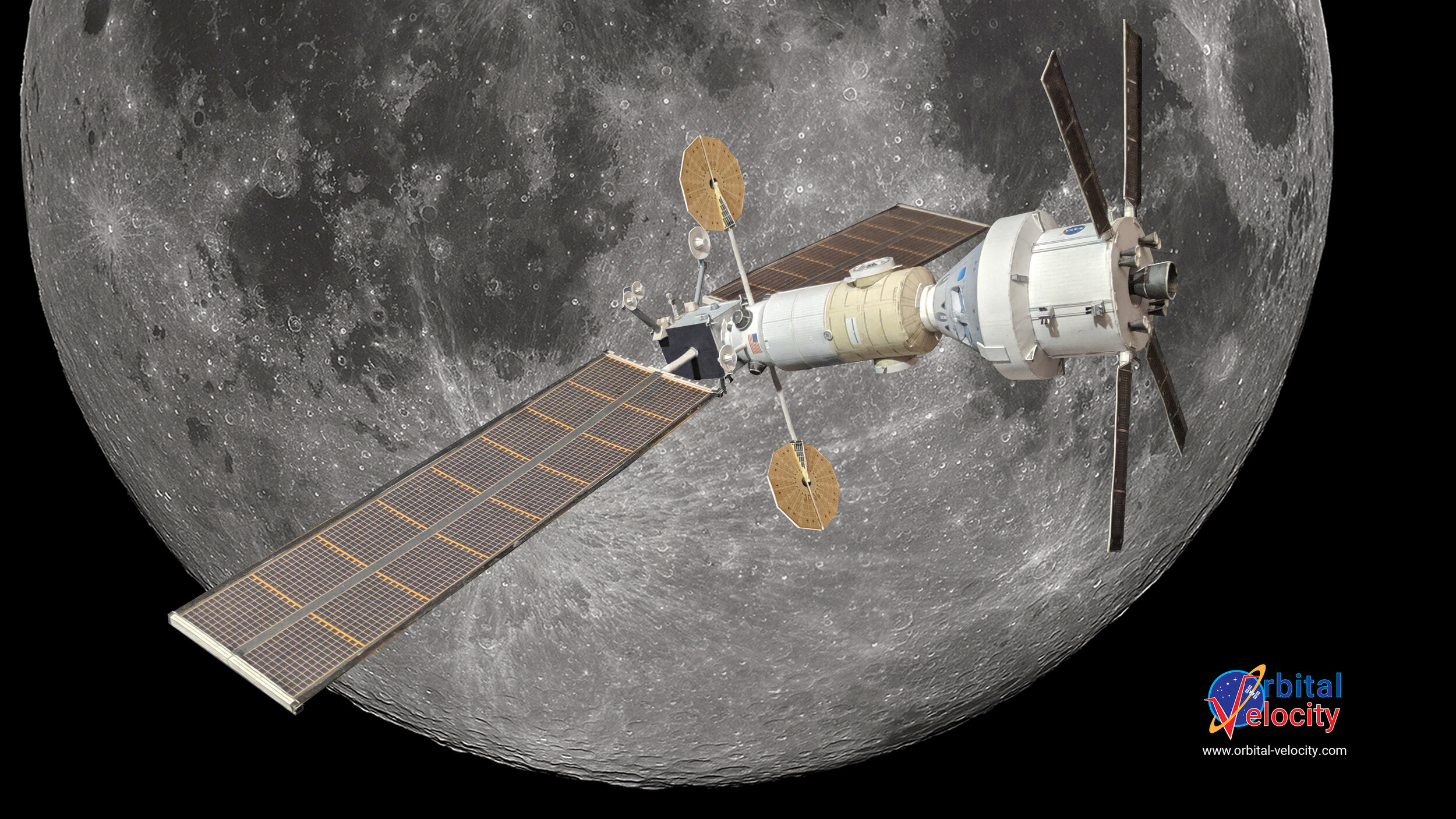 A possible concept of NASA's Lunar Gateway in orbit around the Moon with an Orion spacecraft docked. Credit: Orbital Velocity