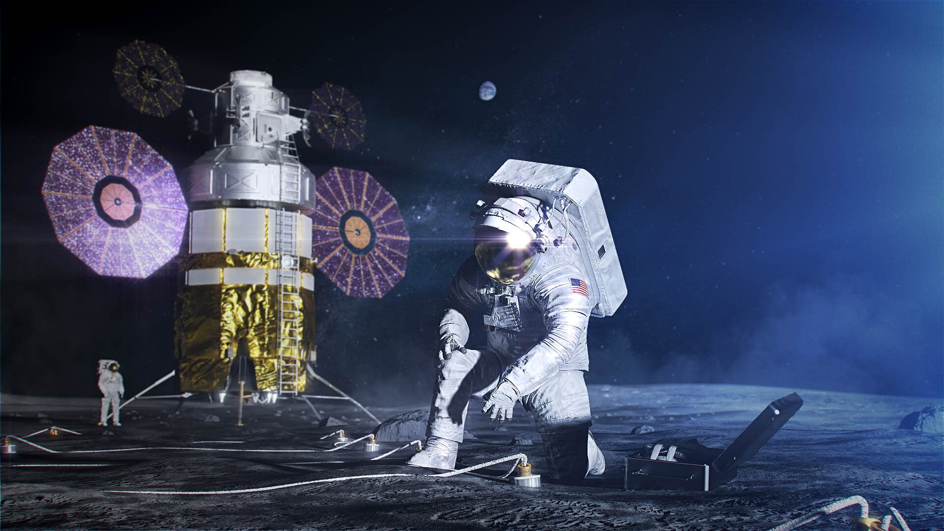 An artist's illustration of astronauts on the lunar surface in Exploration Extravehicular Mobility Units. Credit: NASA