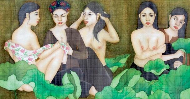 Tác phẩm Căn nguyên của cái đẹp, lụa, 146 x 78cm, 2010.  Ảnh:
