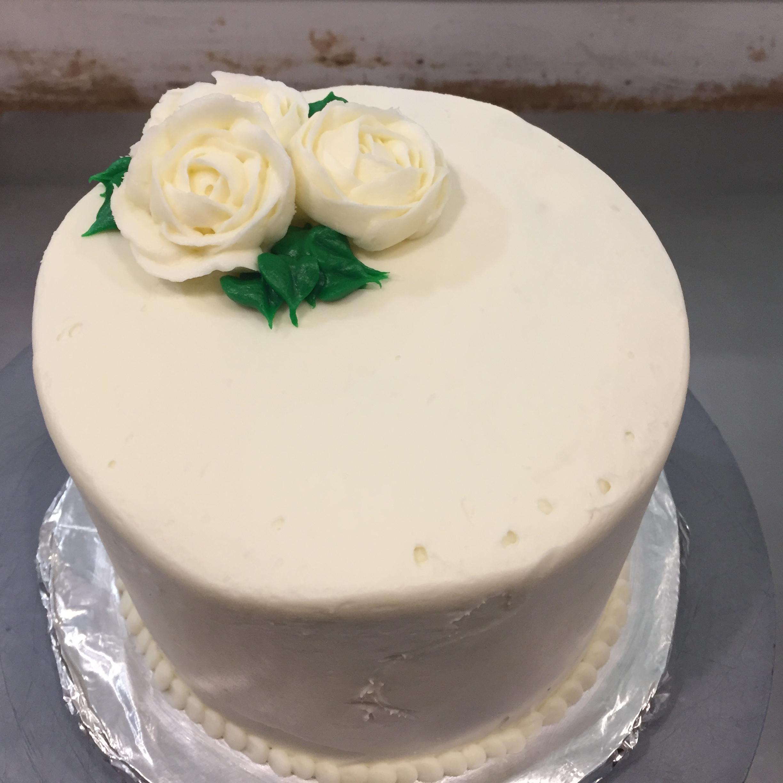 "6"" full tiered white rose cake"