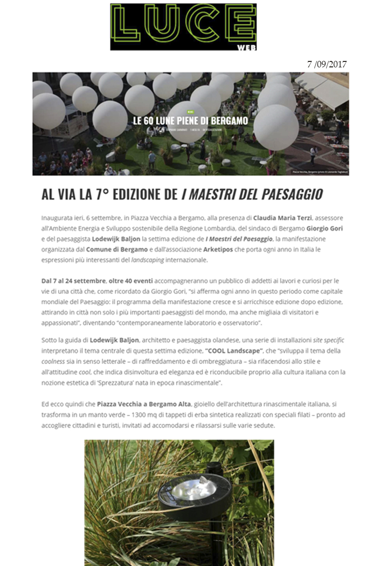 "Luce Web   Frog illumina i ""Maestri del paesaggio 2017"""