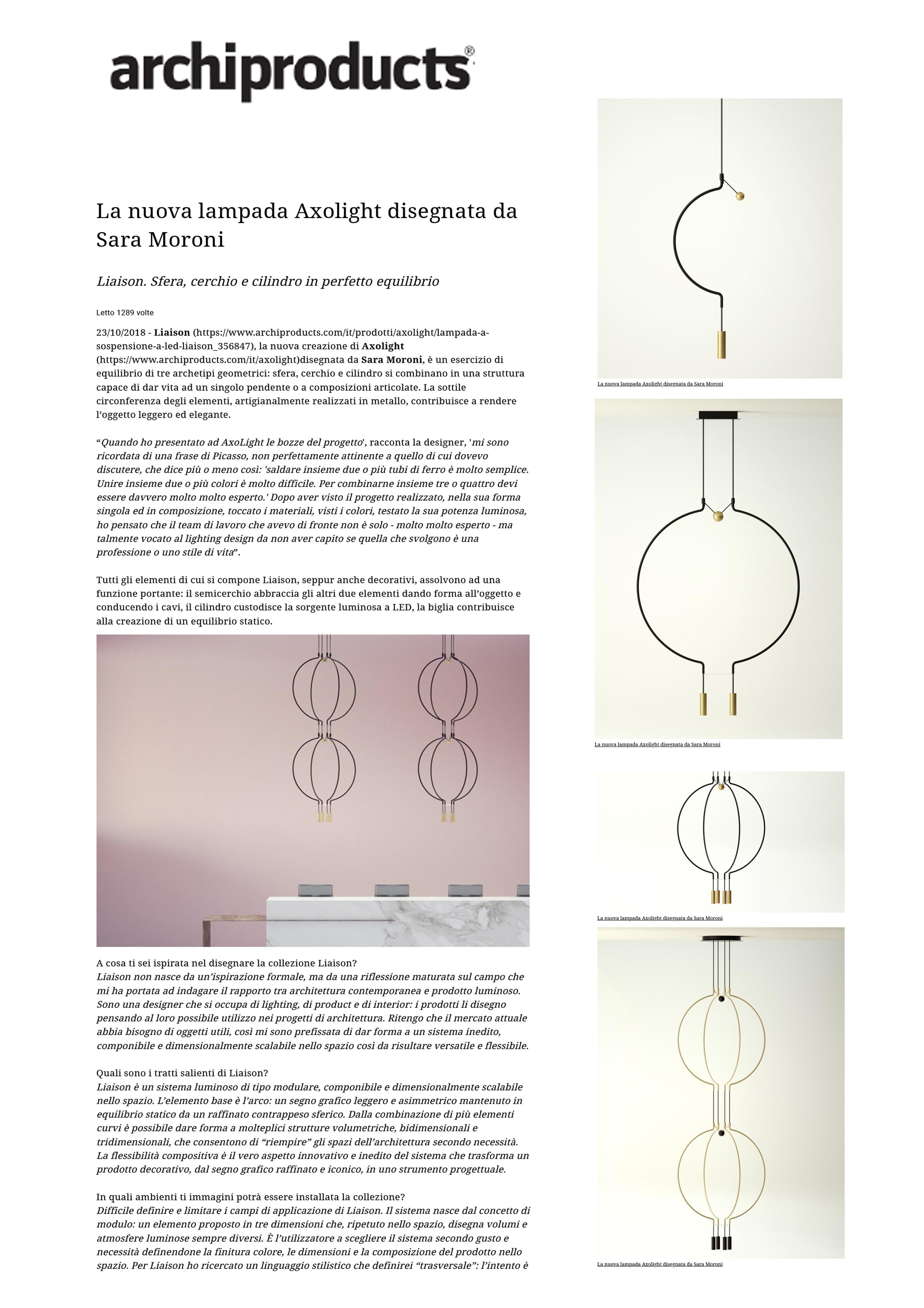 Archiproducts_La nuova lampada Axolight disegnata da Sara Moroni
