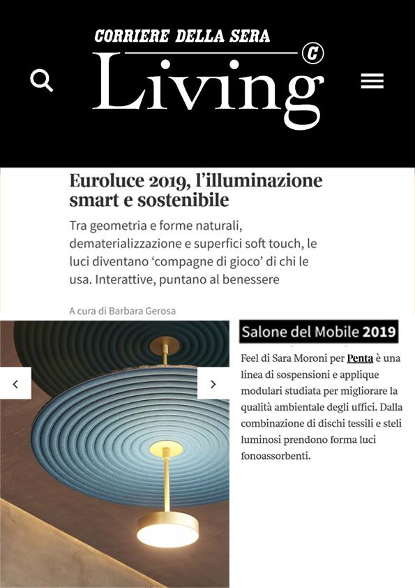 Living corriere_Euroluce 2019, l'illuminazione smart e sostenibile.