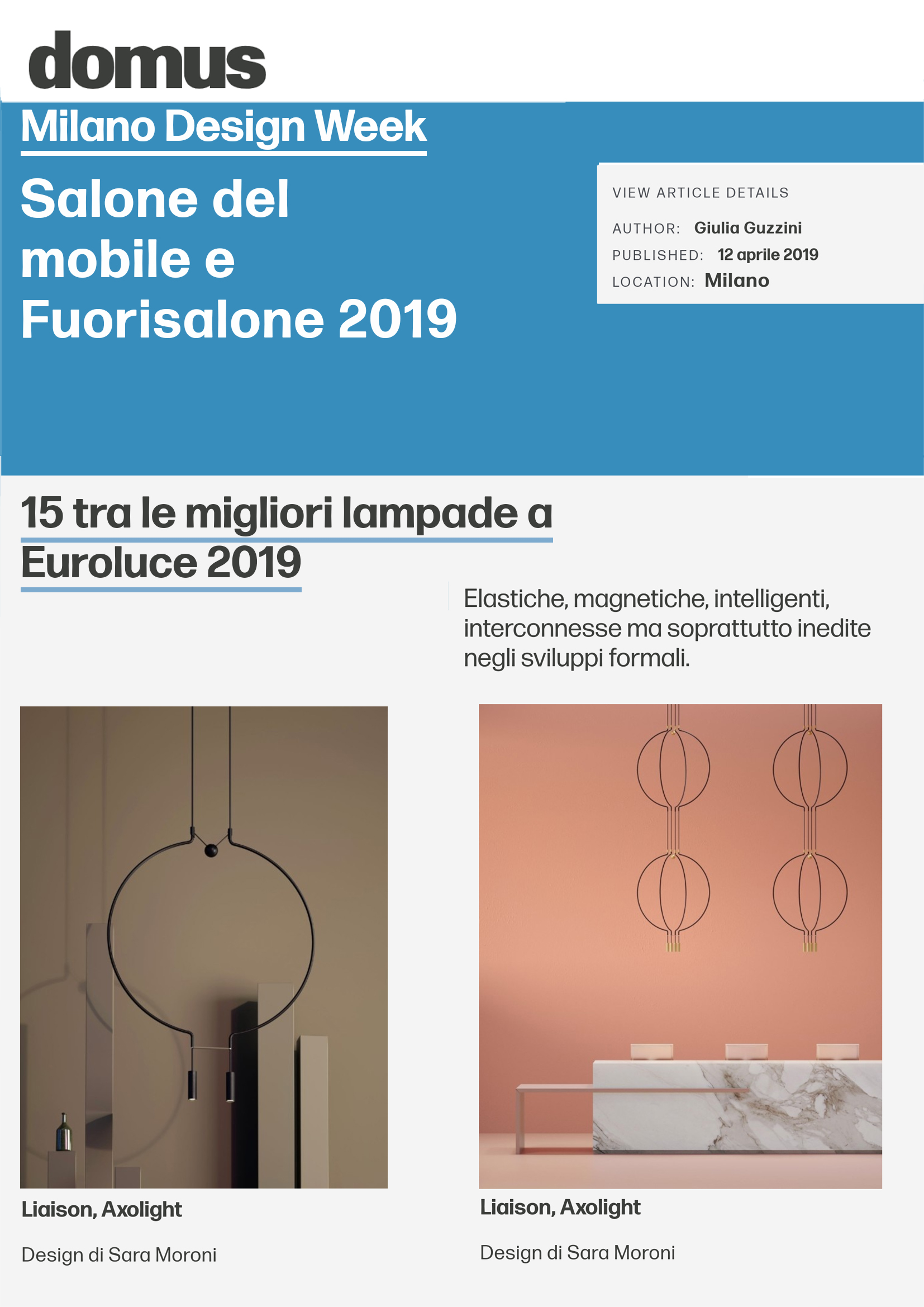 Domus web_Milano design week: 15 tra le migliori lampade ad Euroluce