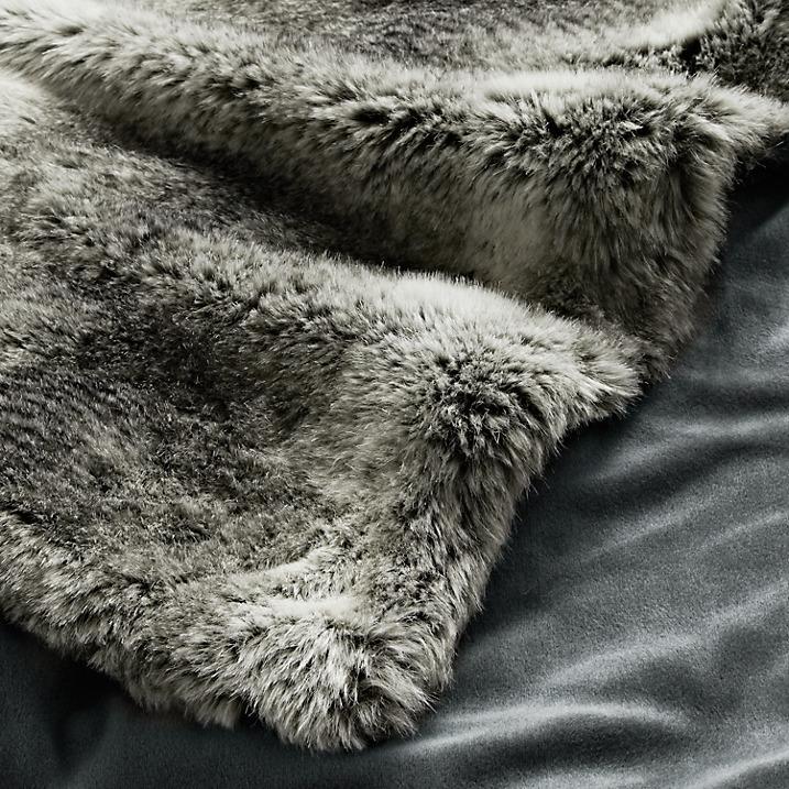 John Lewis Faux Fur Grey Throw