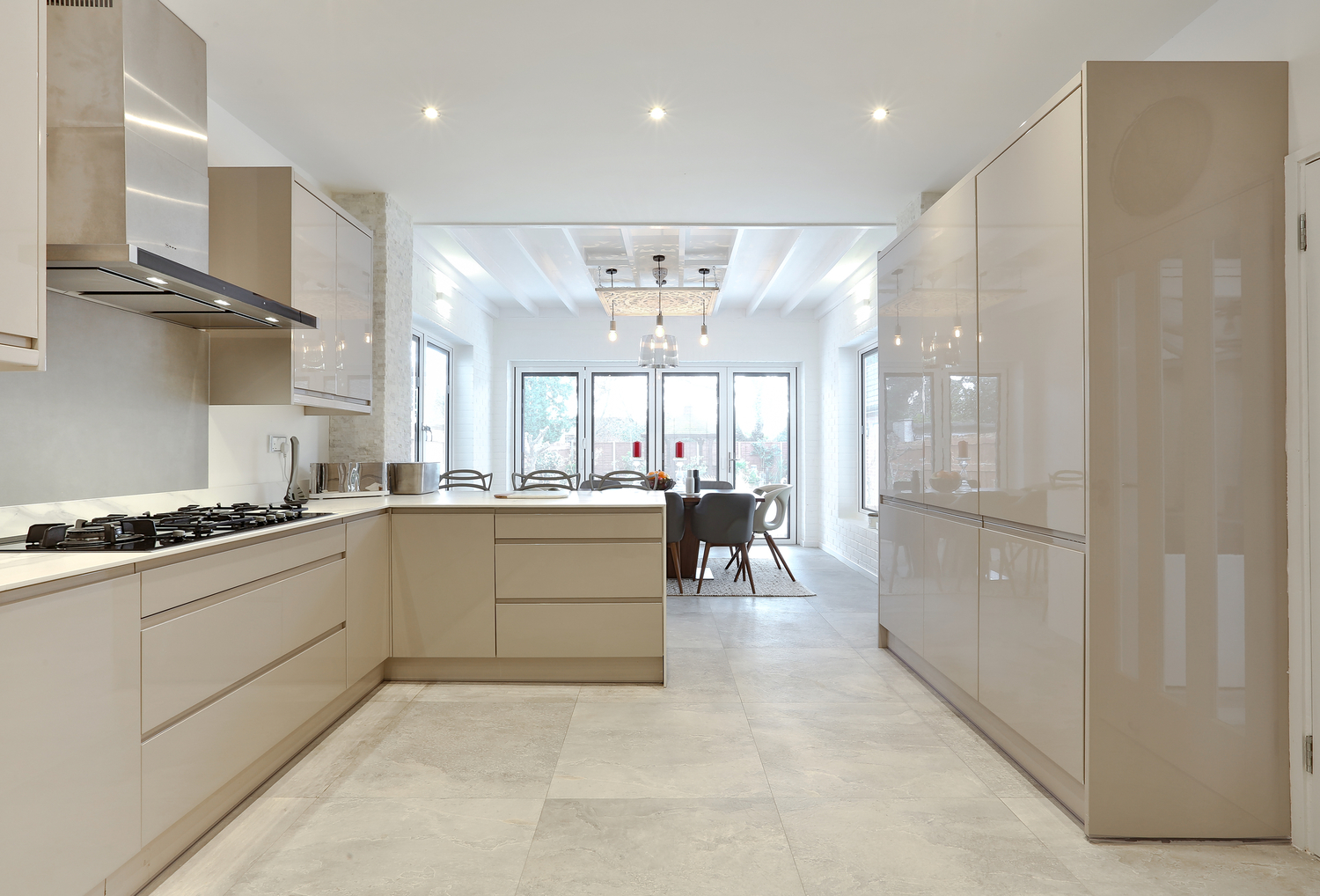 Low voltage halogen lights in our East London kitchen extension to provide a warm white light