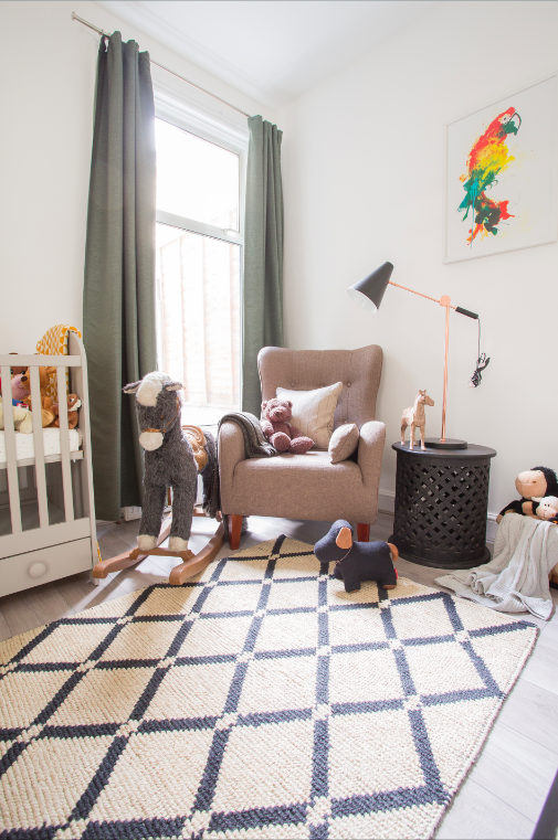 Our children's room used a very muted select colour palette.