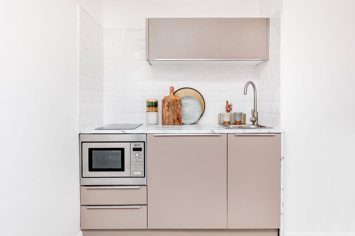 Our   Dalston Studio   apartment featured a classic Pullman kitchen design.