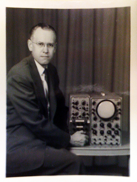 Ben Laposky with Oscilloscope<br>© Sanford Museum