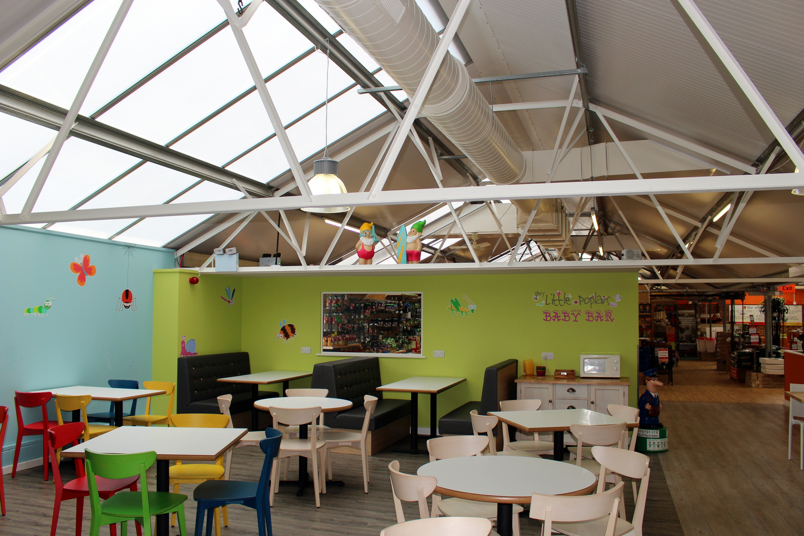 361 Degrees Café Heating Air Conditioning Renovation Poplars Garden Centre suspended gas fired unit heater fabric duct air induction system powder coated duct system