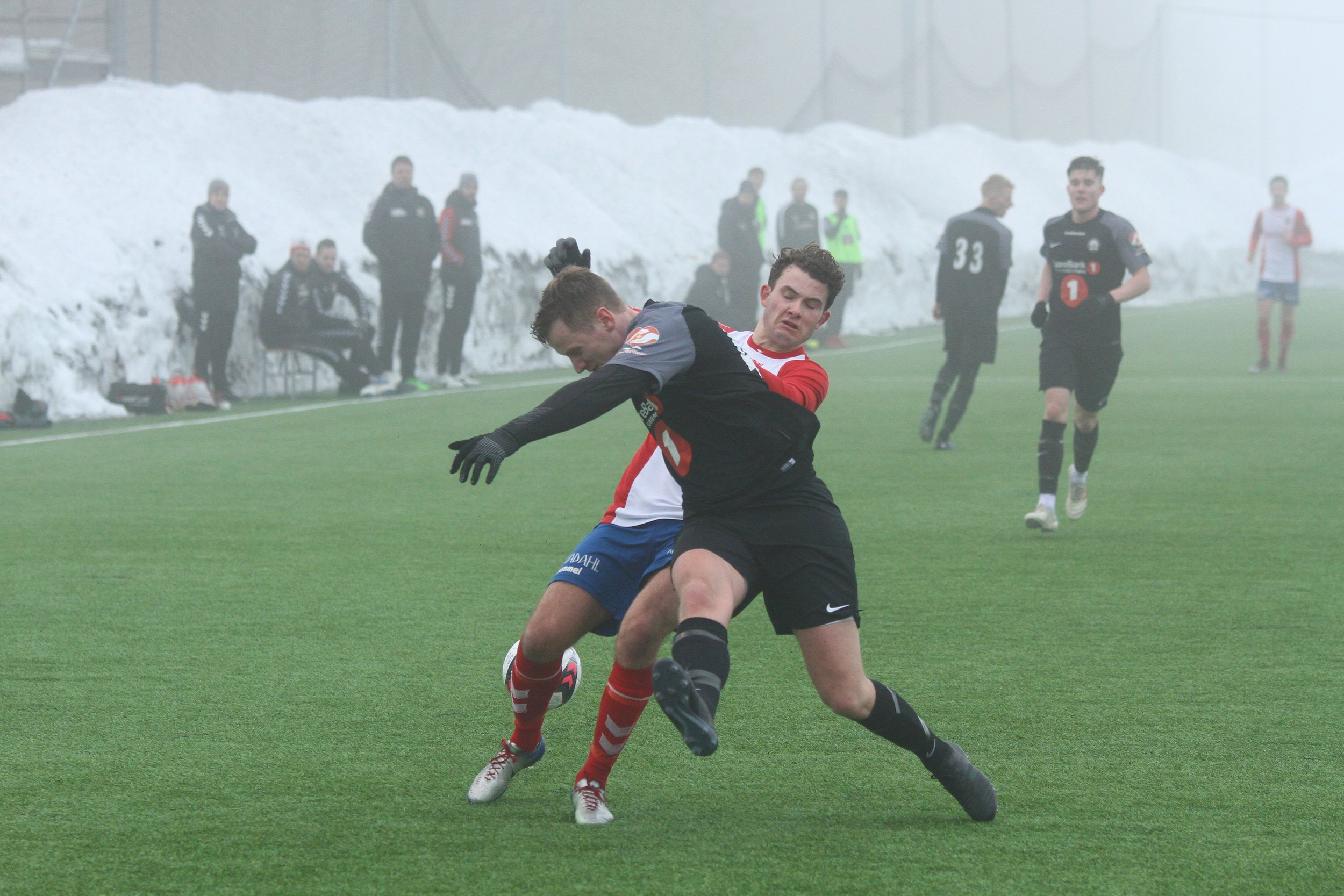 Aase med fire mål for Lyn 2. Her fra treningskampen mot Lokomotiv Oslo tidligere i vinter. Arkivfoto: Frank Halse