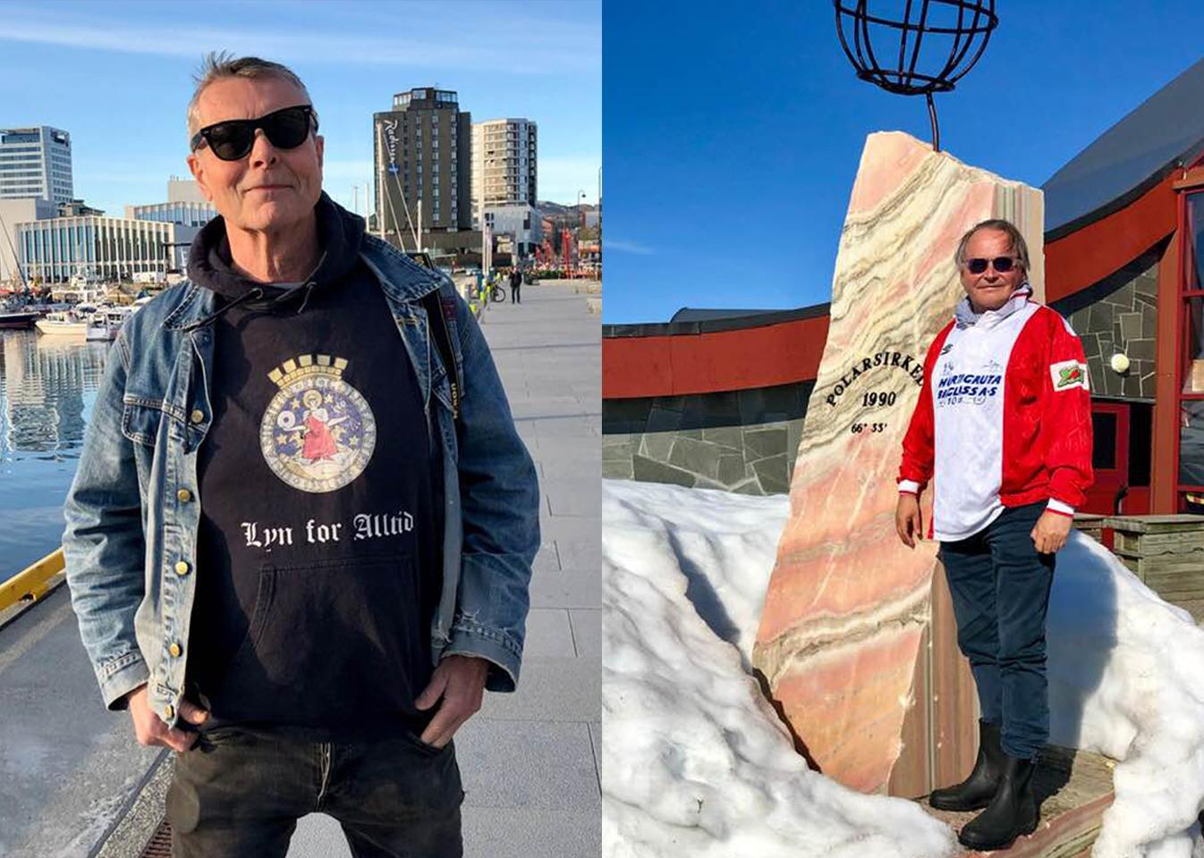Lyn-supporterne Harald Sollund og Per Kristian Arnø har kjørt fra Oslo til Vadsø for å se Lyn-kamp til helgen. Alle foto: Privat/Harald Sollund