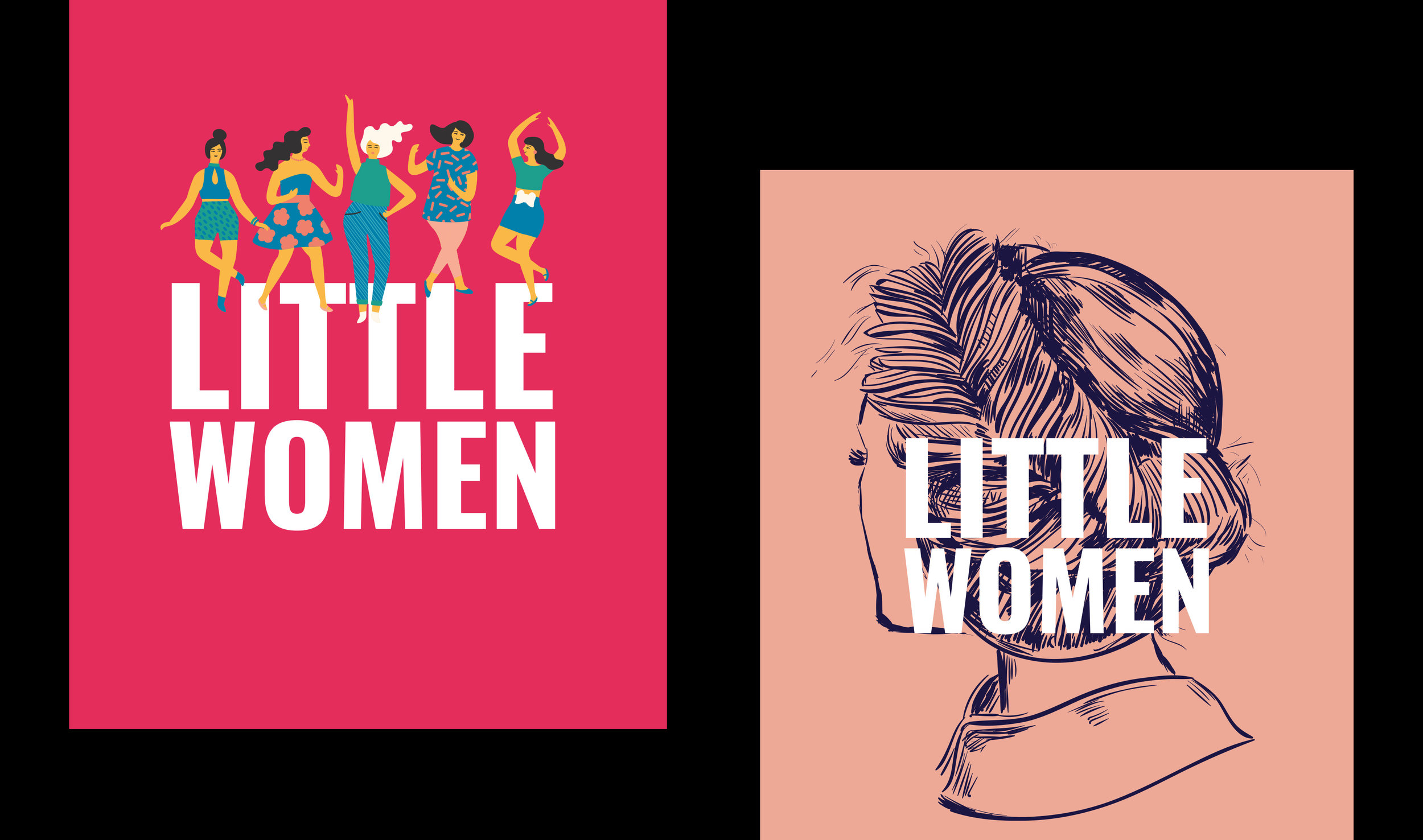 Above: Initial concepts for the Little Women campaign