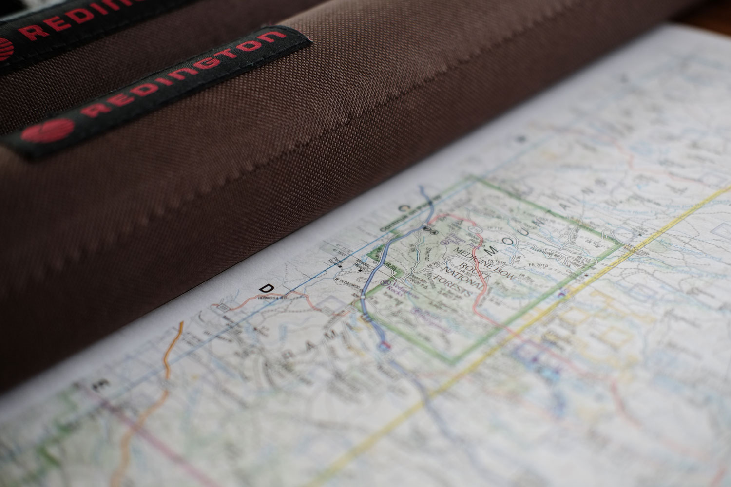 Planning the trip. Redington Butterstick and map of Wyoming